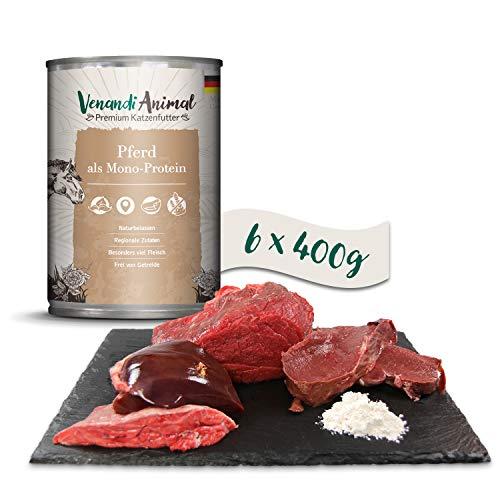 Venandi Animal Premium Nassfutter für Katzen, Pferd als Monoprotein, 6 x 400 g, getreidefrei und naturbelassen, 2.4 kg