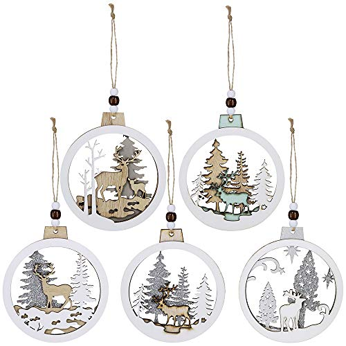 5 Pcs Christmas Hanging Wooden Ornament Hollow Fretwork Laser Cutting Wood Carving Ornaments Wood Slice Gift Tags Pendant Circle Bauble Glitter Reindeer Oranments Xmas Tree for Holiday Season Festival