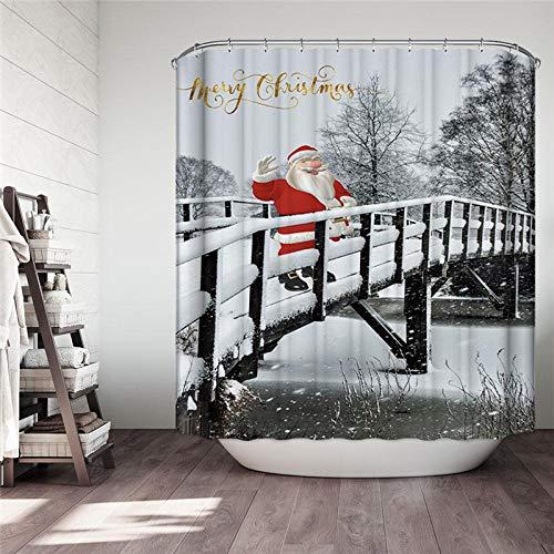 MALECUPWH Cortina Ducha Tela con Ganchos Cortina Ducha Poliéster Cortina De La Ducha 200 X 200 Cm Impermeable Antimoho Navidad/Santa