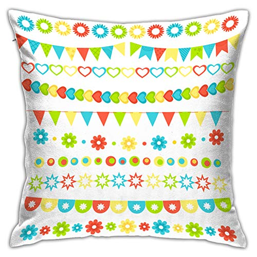 MZTYPLK Decorative Square Pillow Covers,set multicolored flat buntings garlands flags,Pillowcases Cushion Cover Throw Home Decor for Sofa Car Bedroom (45x45cm)(2PCS)