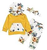 Emmababy Unisex Baby Mädchen Jungen Kleidung Set Langarm Hoodie Blumendruck Leggings Set Kleinkind,Gelbe Blume,0-6 Monate