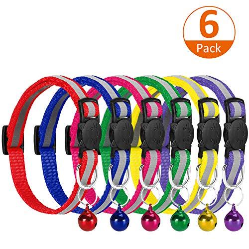 VACNITE Reflektierendes Katzenhalsband mit Klingel und Sicherheitsschnellverschluss, 6er-Pack Katzenhalsbänder einstellbar 20-30cm