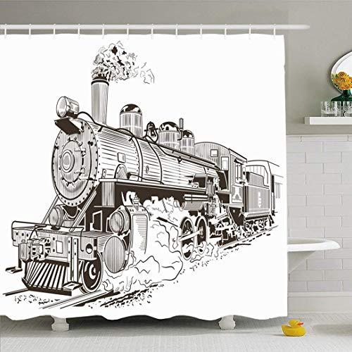 N\A Ahawoso Duschvorhang Set mit Haken Zug Dampf Isolierte Lokomotive Old Vintage Smoke in Umriss Reisen Retro-Stil Transport Wasserdichtes Polyestergewebe Bad Dekor für Badezimmer