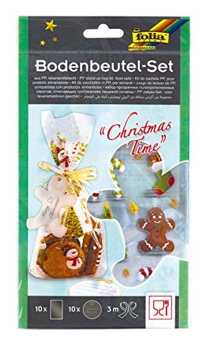 folia 46205 Bodenbeutel Set Christmas Time, transparente Beutel weihnachtlich Bedruckt, ca. 14,5 x 23,5 cm groß, inklusive 10 Anhängern und 3 m Satinband zum Verschließen