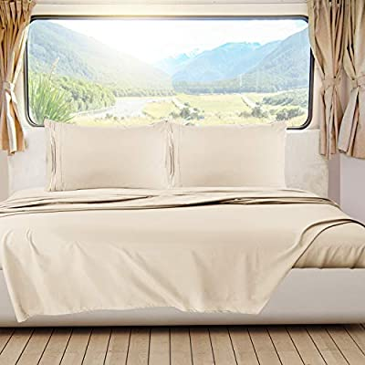 Nestl Bedding Short Queen Sheets, RV Sheets Set for Campers, Deep Pockets Fitted RV Bunk Sheets, 4-Piece 1800 Microfiber Bed Sheet Set, Cool & Breathable, RV Queen Sheets, Beige Cream by Nestl Bedding