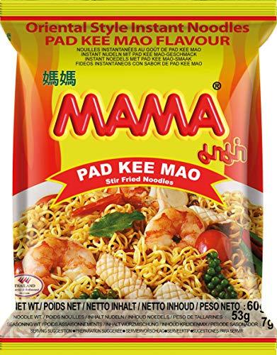 MAMA Instantnudeln Pad Kee Mao – Instantnudeln orientalischer Art – Authentisch thailändisch kochen – 45 x 60 g