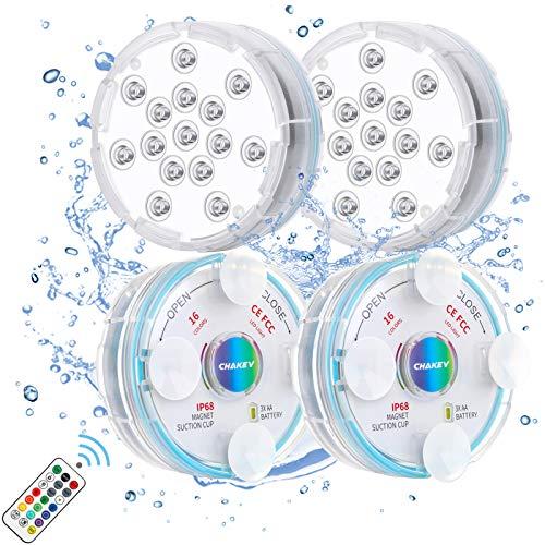 Chakev Unterwasser Licht IP68 Pool Beleuchtungen Farbwechsel Poollicht Garten Licht mit Magnet Saugnapf RF-Fernbedienung für Teich Whirlpool Badewanne Festival Dekoration, 4 Stück