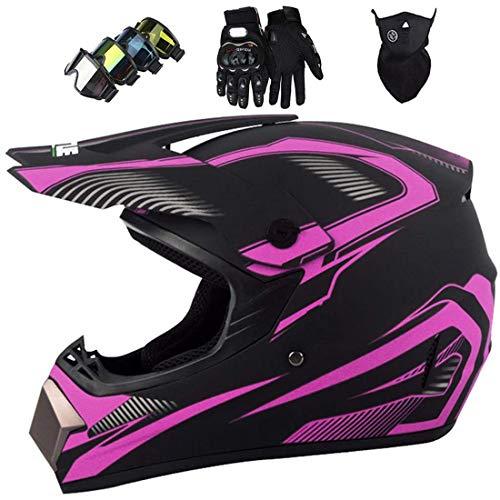 Casco de motocross de cara completa para adultos con guantes de máscara, Conjunto de casco cruzado de motocicleta para niños, Off Road Crash Casco MTB Downhill Dirt Bike MX Quad ATV, Certificado DOT