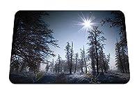 22cmx18cm マウスパッド (冬の太陽の光朝雪木目) パターンカスタムの マウスパッド