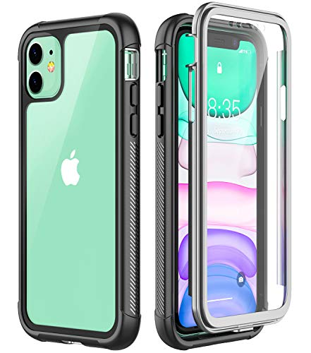 Eonfine iPhone 11 Case, Shockproof Full-Body Heavy Duty Protection with Built-in Screen Protector Rugged Armor Cover for iPhone 11 6.1 Inch 2019 Release (Black+Clear)