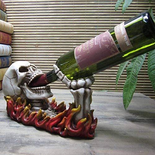 Equipo de vida Estatuas de estatuas Esculturas de estatuillas Escultura de calavera de llama única Soporte para botellas de vino Cráneo de poliresina decorativo Utensilios de cocina Regalos y manua