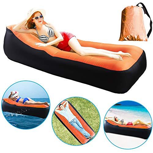 Nakeey Aufblasbares Sofa Outdoor, Wasserdichtes aufblasbares Sofa Luftsofa für Camping Wandern Schwimmbad Strand Reisen, Luft Sofa Tragbarer mit Tragebeutel, Orange