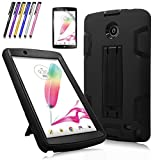 Cherrry Shock Proof [Impact Resistant] [Kids Friendly] Case Build in Kickstand for LG G Pad F 8.0 / LG GPad II 2 8.0 Inch Tablet Case +Screen Protector Film and Stylus Pen (Black)