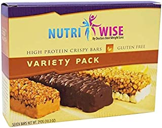 NutriWise - Variety Pack Crispy Bars   Gluten Free Diet Bar   High Protein, Low Carb, Low Calorie (7/Box)