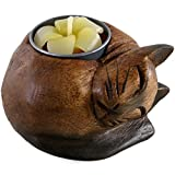 Something Different Curled Cat Wooden Tealight Holder, Multi-Colour