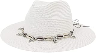 SHENTIANWEI Summer Straw Sun Hat Women's Party Shell Fringe Jazz Cap Vacation Sun Hat Floppy Hat Wheat Straw Hat