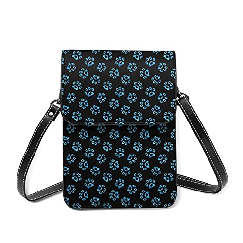 best& Love Heart Paws - Bolso bandolera para mujer (piel sintética, con ranuras para tarjetas), color negro y azul