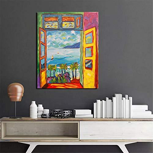 nr Pintor Matisse Pintura de Paisaje Vista Exterior de la Ventana Arte de la Pared Lienzo Pintura de la Lona Cuadros Decorativos 50x70cm sin Marco