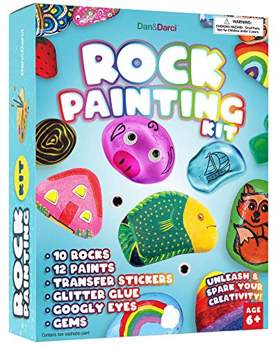 Rock Painting Kit for Kids - Arts and Crafts for Girls & Boys Ages 6-12 - Craft Kits Art Set - Supplies for Painting Rocks - Best Tween Paint Gift, Ideas for Kids Activities Age 4 5 6 7 8 9 10…