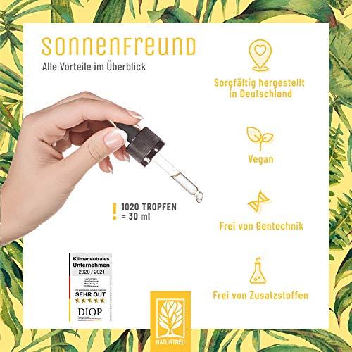 Vitamin D3 K2 Tropfen hochdosiert und vegan - 100% pflanzlich (ohne tierisches Lanolin) - 1000 IE Vitamin D vegan & Vitamin K2 - Sonnenfreund D3K2 Öl geprüft & hergestellt in Deutschland - 7