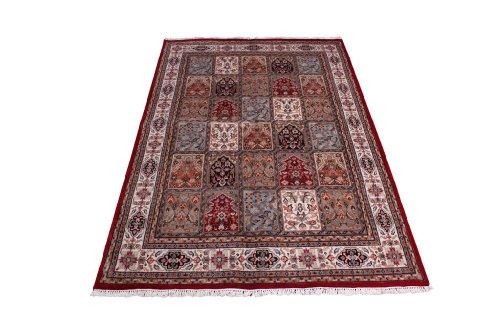 Klassischer handgeknüpfter Orient Teppich Ghom Felder aus Indien 234 x 166 cm