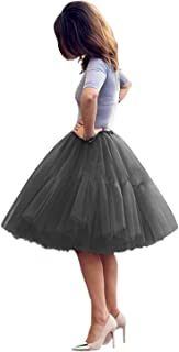 Women's Midi Tulle Tutu Skirt Puffy Princess Five Layers A line 50s Petticoat Crinoline Underskirt for Prom Party ICY076