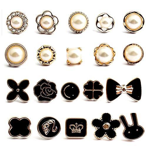 20 Piezas Mujer Camisa Broche Botones, Broche de Seguridad para Camisa, Botones de Exposición Accidental, para Bolsas Mochilas Chaquetas Sombrero Ropa Vestido