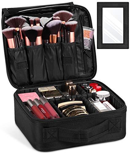 Syntus - Bolsa de maquillaje portátil con separadores ajustables para espejos, gran capacidad para cosméticos, brochas de maquillaje, artículos de tocador, accesorios digitales, color negro