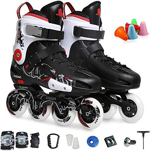 CAIFENG Patines en línea ligeros para principiantes, patines profesionales, cómodas para adolescentes y adultos, adecuados para entornos interiores y exteriores, color negro, 6.5 UK/41 EU