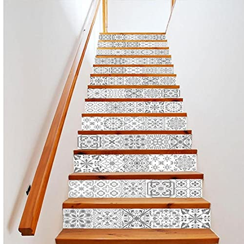 Ruluti 8pcs Escalera Pegatinas, Mandala Decorativo Conjunto De Stickers, Teja Etiquetas Autoadhesivas Escalera Mural Vinilo para Paredes De Cocina Inicio Decoración 15 * 75cm