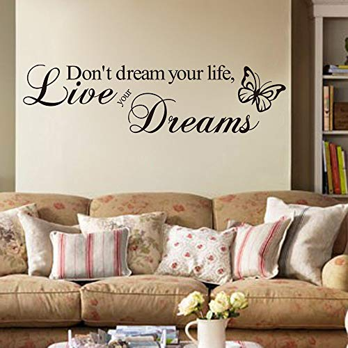 """Inspirational""""Don't Dream Your Life, Live Your Dreams"""" Quotes Wall Art Stickers Decorative Words Letters Simple Removable DIY Vinyl Wall Decals Living Room, Bedroom Mural"""