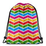 BXBX Plegable Bags Colorful Chevron Background Water Resistant Sports Gymsack Drawstring Bag