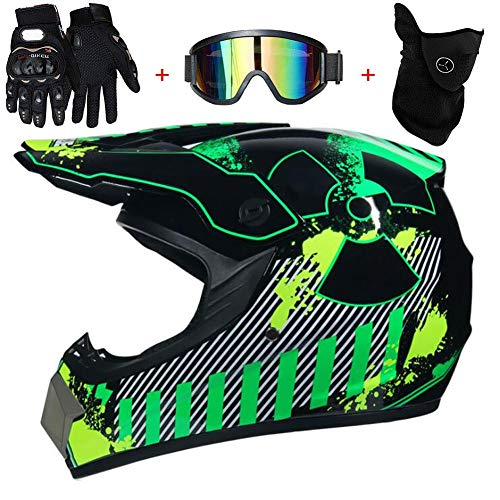 TKUI Motorradhelm, Outdoor-Jugend-Kinder-Dirt-Fahrradhelme, Full Face Motocross-Offroad-Helm Four Seasons Universal (Handschuhe, Brille, Maske, 4-teiliges Set),M(54~55cm)