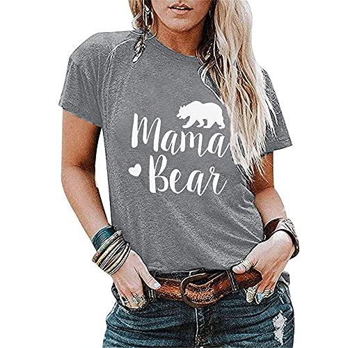 Camiseta Mujer Manga Corta Cmoda Escote Exquisito Diseo Carta Mujer Camisa con Estampado Animal All-Match Casual Clsico De Moda Colocacin Elasticidad Vacaciones Mujer Blusa B-Light Grey M