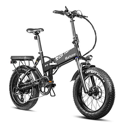 eAhora X7 N 750W Fat Tire Full Suspension Folding Electric Bike Dual Disc Brakes Aluminum Alloy Frame Shimano 7 Speed System Good for Commuting Beach Snow Mountain