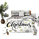 DRAGON VINES Queen Sheets Christmas Pocket Full of Sheets Merry Christmas Stylized Lettering on Abstract Modern Snowflake Dot Pattern W68 xL85 Gold Taupe Black