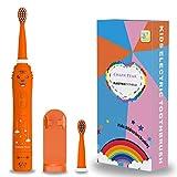 Cepillo de dientes recargable para niños, cepillo de dientes sónico para niños, niñas de 3 a 12 años, recordatorio de 30 segundos, temporizador de 2 minutos, 6 modos, 2 cabezales de cepillo (Naranja)