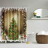 JameStyle26 Cortina de ducha con diseño de muñeco de nieve y árbol de Navidad, impresión digital, incluye anillos antimoho, lavable, 180 x 200 cm, árbol de Navidad