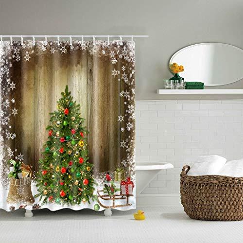 JameStyle26 Duschvorhang Weichtsmann Tannenbaum Schneemann Xmas Weihnachtsbaum Vorhang Digitaldruck inkl. Vorhangringe Anti Schimmel Badezimmer Badewanne waschbar (180 x 200 cm, Tannenbaum)