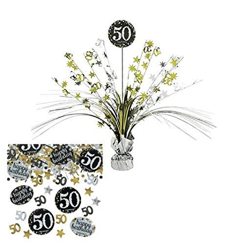 Feste Feiern Tischdekoration 50. Geburtstag | 2 Teile Tischaufsatz Tischaufsteller Kaskade Konfetti Gold Schwarz Silber metallic Party Deko Set Happy Birthday 50