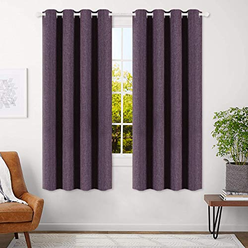 Best Dreamcity Blackout Curtains Purple 63 inch Bedroom Curtains Living Room Linen Textured Room Darkening Thermal Insulated Drapes Violet Grommet Top Window Treatment Set 2 Panels
