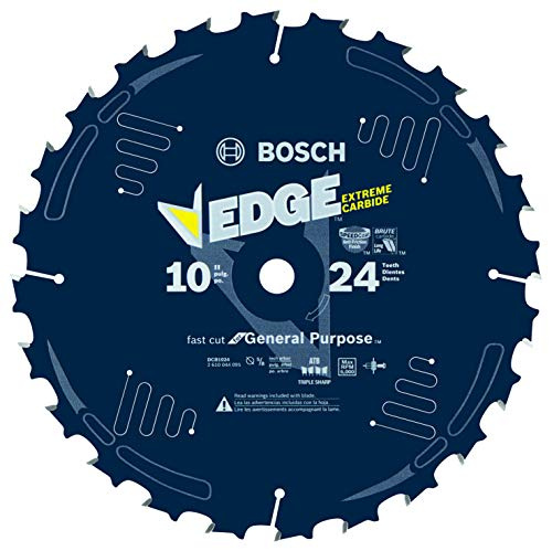 BOSCH DCB1024 10 In. 24 Tooth Daredevil Table and Miter Saw Blade Fast Ripping