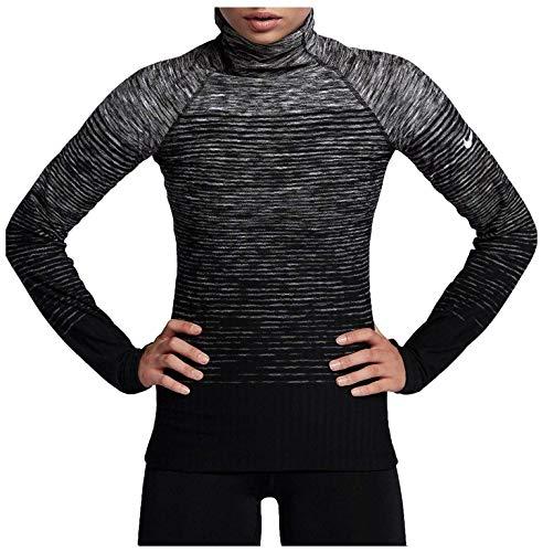 Nike Pro Hyperwarm AQ4400 021 - Camiseta de Entrenamiento para Mujer, Color Negro y Gris