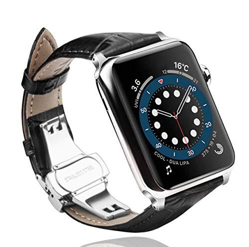 Sea Sha コンパチブル apple watch バンド44mm 本革/ビジネス用 アップルウォッチ ベルト42mm レザー プッシュ式 Dバックル 手作りApple Watch Nike,?Apple Watch Series 6 / SE / 5