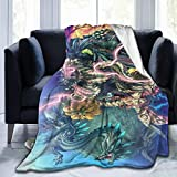 "Overbearshop Best Fleece Bed Blankets, Monster Hunter World Decorative Throw Blankets, Anti-Static Ultra Soft Thick Blanket for Boys Hotel Preschool - 50"""" x40, Soft Children Blanket"