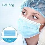 GerTong 10 Stück Einweg Maske Gesichtsmaske 3-lagig Mundschutz Staubschutz Schutzmaske Atemschutzmaske mit Ohrschlaufen schützt vor Verschmutzungen (Blau)