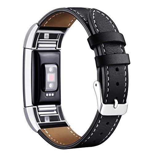 """Mornex Für Fitbit Charge 2 Armband, echtes Leder-Armbänder, Unisex-Ersatzband mit Metall Konnektoren(5,5\""""-8,1\"""") Schwarz"""