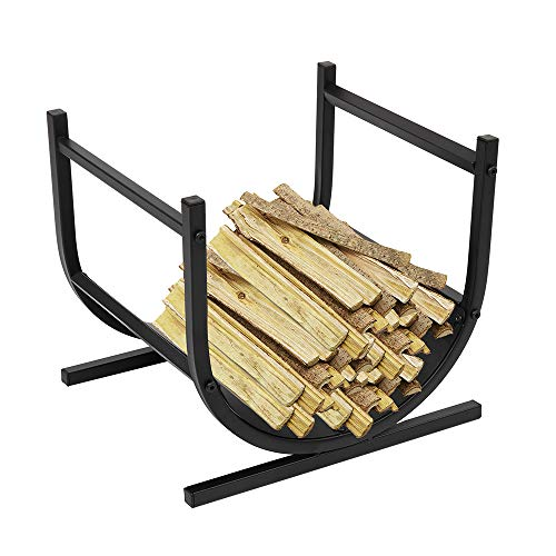 17 Inches U-Shaped Small Fireplace Firewood Stand Decorative Indoor/Outdoor Firewood Log Rack Bin with Scrolls, Firepit Storage Logs Holder Indoor Outdoor Wrought Iron for Wood Stove Fireside Fire Pit