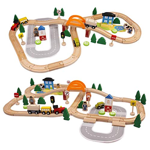 Wooden Train Set,Christmas Train Set,Wooden Train Track Car Toy Vehicle Set Flexible Railway Track Building Kit Toy Learning Educational Toys, Rack Accessories Gift For Kids Children Gifts,Party