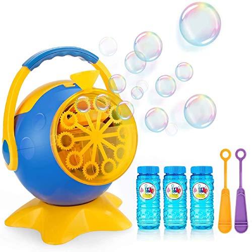 Apiker Seifenblasenmaschine für Kinder Bubble Machine Automatischer Seifenblasen-Maschine mit 3 Flaschen Seifenblasen - 800+ Farbige Blasen in Einer Minute - Perfektes Ideal für Hochzeit, Party
